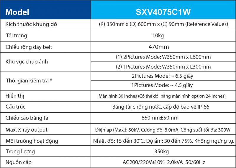Dac diem ky thuat ma Xray SXV4075C1W - 1